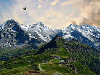 Photograph - Eiger, Monch And Jungfrau Peaks by Anthony Dezenzio