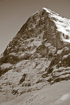 Sepia Photograph - Eiger North Face by Frank Tschakert