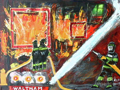 Painting - Eight Alarm Fire In Waltham by Rita Brown
