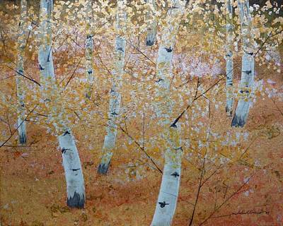 Gold Leaf Painting - Eight Birches by John Cmar