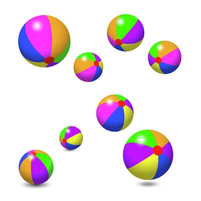 Inflatable Digital Art - Eight Colorful Beach Balls by Peter Hermes Furian