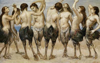 Painting - Eight Dancing Women In Bird Bodies by Treasury Classics Art