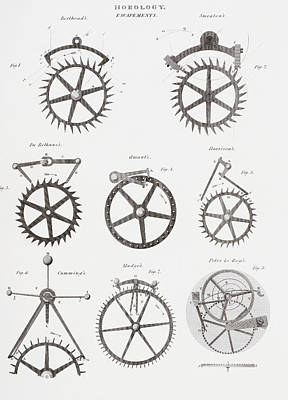 Mechanism Drawing - Eight Different Escapement Systems By by Vintage Design Pics