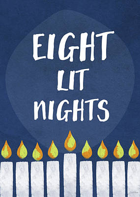 Humor Mixed Media - Eight Lit Nights- Hanukkah Art By Linda Woods by Linda Woods
