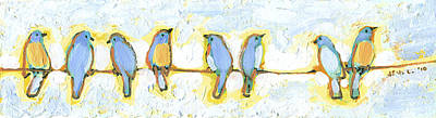 Animals Paintings - Eight Little Bluebirds by Jennifer Lommers