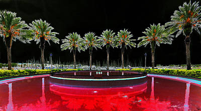 Surreal Landscape Painting - Eight Palms Drinking Wine by David Lee Thompson