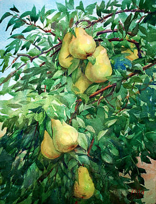 Painting - Eight Pears by Peter Sit