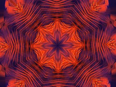 Eight Petal Orange Kaleidoscope Art Print