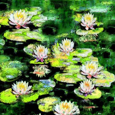 Meditative Digital Art - Eight #waterlilies by Michele Avanti