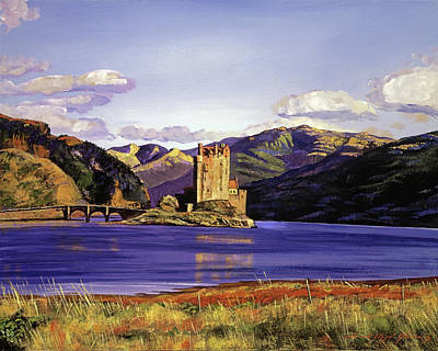 Historic Site Painting - Eilean Donan Castle by David Lloyd Glover