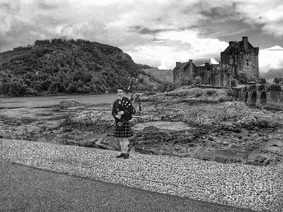 Photograph - Eilean Donan Castle In Monochrome by Joan-Violet Stretch