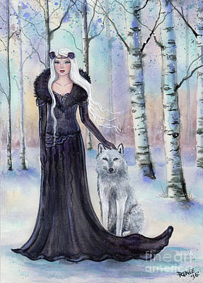 Snowy Day Painting - Eindride Nordi Goddess With Wolf by Renee Lavoie