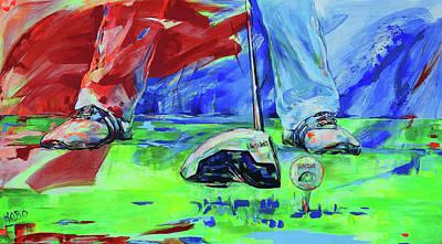Painting - Einen Ball Vom Abschlag Spielen   Ready To Drive Off The Tee by Koro Arandia