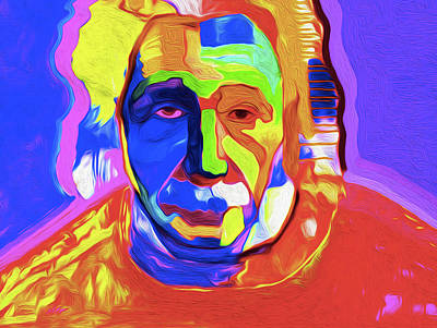 Mixed Media - Einstein 1 By Nixo by Nicholas Nixo