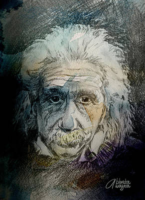 Smart Mixed Media - Einstein by Arline Wagner