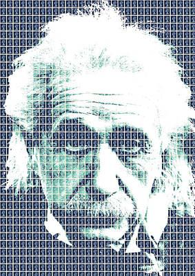 Digital Art - Einstein - Blue by Gary Hogben