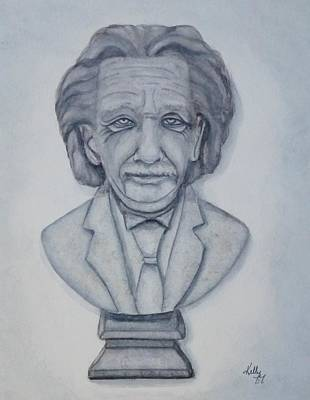 Painting - Einstein Bust Statue by Kelly Mills