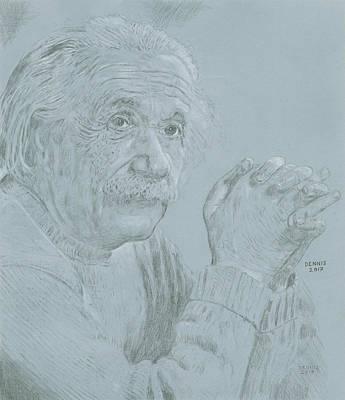 Einstein Drawing - Einstein by Dennis Larson