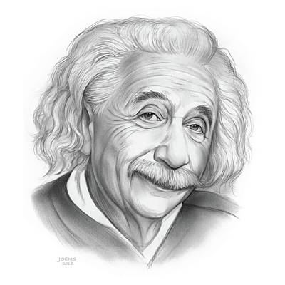 Drawings Royalty Free Images - Einstein Royalty-Free Image by Greg Joens