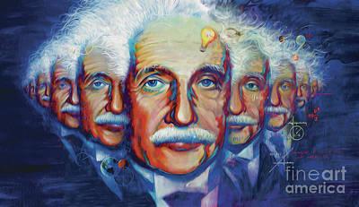 Painting -  Einstein In Theory by Rob Corsetti