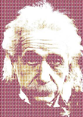 Digital Art - Einstein - Maroon by Gary Hogben