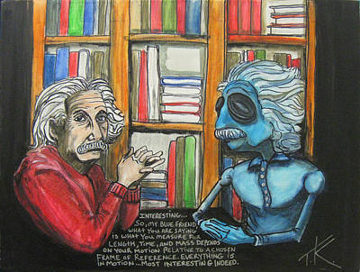 Painting - Einstein Meets The Alien Einstein And Discusses Relativity by Similar Alien