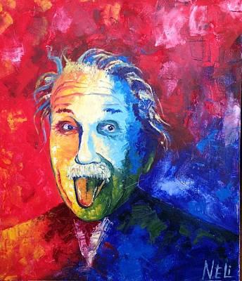 Spontaneous Mixed Media - Einstein by Nailia Nugmanova