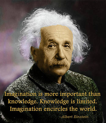 Photograph - Einstein On Imagination by C H Apperson