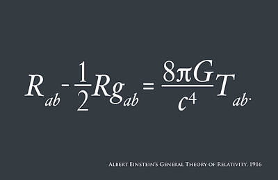 Einstein Theory Of Relativity Art Print by Michael Tompsett