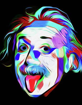 Einstein Tongue By Nixo Print by Nicholas Nixo
