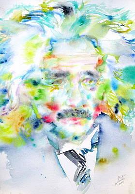 Einstein Portrait Painting - Einstein - Watercolor Portrait by Fabrizio Cassetta
