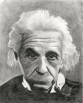 Einstein Drawing - Einstein's Eyes by Charles Vogan