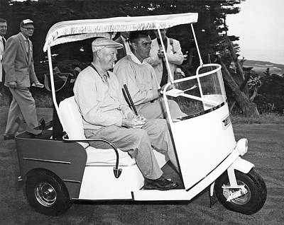 Medium Group Of People Photograph - Eisenhower In A Golf Cart by Underwood Archives