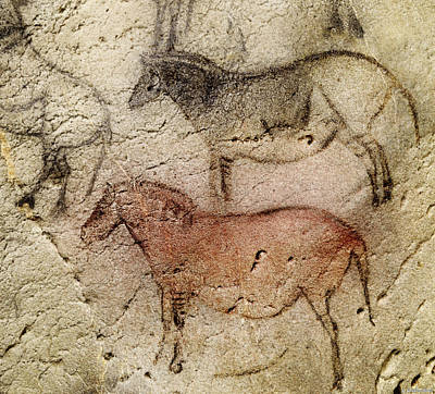Digital Art - Ekain Cave Two Horses by Weston Westmoreland
