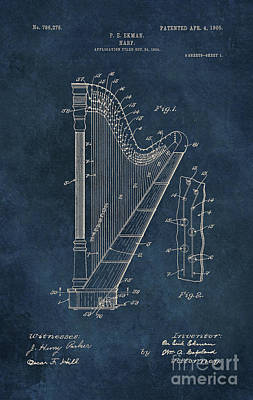 Instrument Digital Art - Ekman  Harp Patent Art by Justyna JBJart