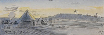 Drawing - El Areesh, Six-thirty Pm, 31 March 1867 by Edward Lear