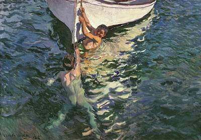 Painting - El Bote Blanco by Joaquin Sorolla