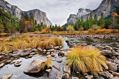 El Capitan And The Merced River In The Fall Art Print