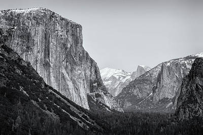 Photograph - El Capitan, Half Dome And Sentinel Rock From Tunnel View Bw by Belinda Greb
