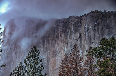 Photograph - El Capitan Horsetail Falls Stormy Sunset by Connie Cooper-Edwards
