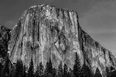 El Capitan Mountain In Black And White Art Print