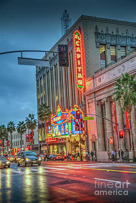 Photograph - El Capitan Theater Hollywood  Ca Hollywood Blvd Night  by David Zanzinger