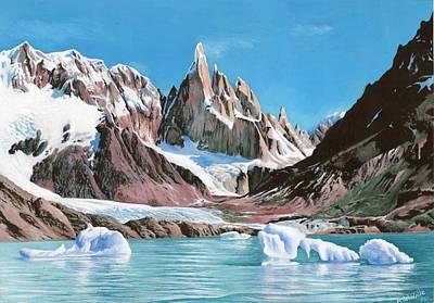 Ice Climbing Painting - El Chalten Cerro Torre by Alejandro Del Valle