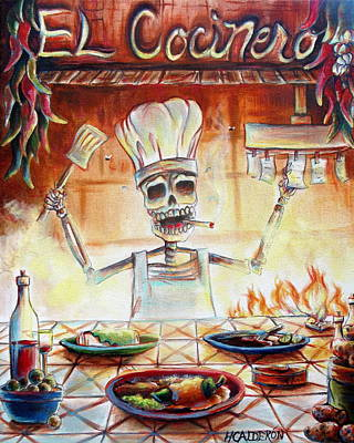 Tile Painting - El Cocinero by Heather Calderon