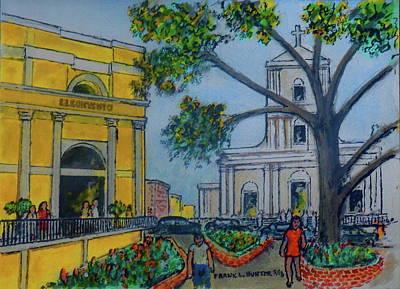 Painting - El Convention Hotel And San Juan Church In Old San Juan Puerto Rico by Frank Hunter