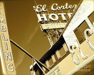 Photograph - El Cortez Casino Hotel Fremont Street Las Vegas  Fine Art Photograph Sepia Architecture Photograph by Tim Hovde