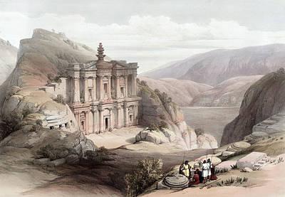 Jordan Drawing - El Deir Petra 1839 by Munir Alawi