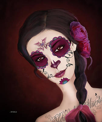 Dea Painting - El Dia De Los Muertos Day Of The Dead Sugar Skull  by Maggie Terlecki