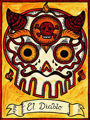 Loteria Painting - El Diablito - The Devil by Mix Luera