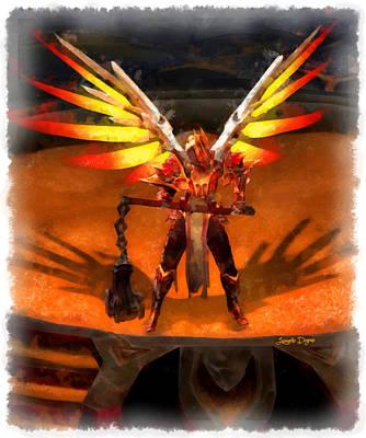 Dragonfly Digital Art - El Diablo  - Aquarell Style -  - Da by Leonardo Digenio